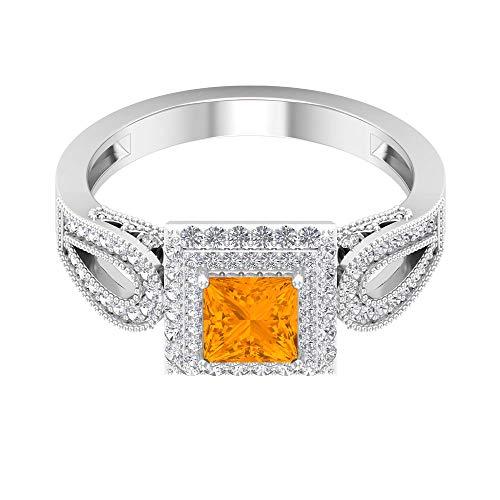 Anillo de compromiso vintage de zafiro naranja creado en laboratorio de 1,25 CT con halo de diamante doble (calidad de reliquia), 14K Oro blanco, Size:EU 59