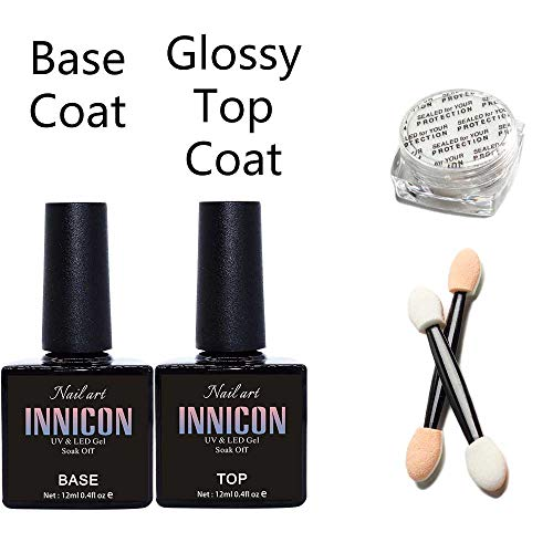 INNICON Gel Nagellak Met Top En Base Coat 12ml, Chroom Poeder UV Soak-Off Langdurige Elegantie Kleur Geschenkdoos Voor Kerst Basis Coat No Wipe top Spiegel Effect Poeder Set