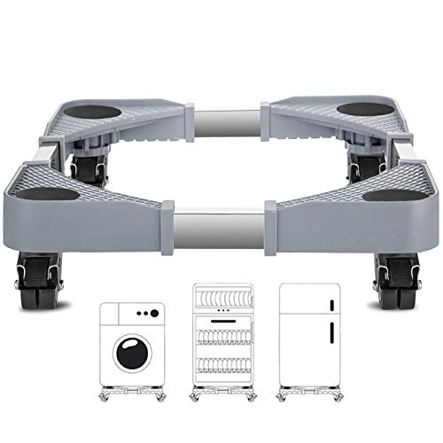 GAOLIQIN Soporte para Lavadora, Rodillo móvil Multifuncional con Base Ajustable móvil, 4 Ruedas giratorias de Goma con Bloqueo, para...