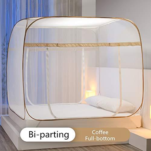 KF-Net Moskitonetz ohne Logo, zweigeteilt, mongolisches Yurt, Mehrfarbig, tragbar, faltbar, für Camping, Zelt, Sommerbett, Moskito-Vorhang, Kaffee ohne Boden, 4.5 feet Bed