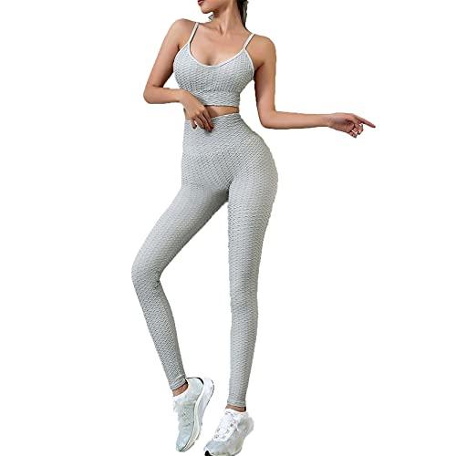 Juego de Top Leggings para Gym Yoga Pilates, Conjunto de entrenamiento con textura de mujeres Juego de 2 piezas Equipo de ejercicio Alto cintura tope Levantamiento de yoga Leggings y Spaghetti Strap S