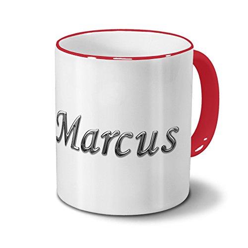 Tasse mit Namen Marcus - Motiv Chrom-Schriftzug - Namenstasse, Kaffeebecher, Mug, Becher, Kaffeetasse - Farbe Rot