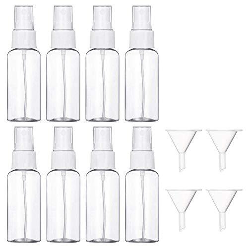 Luckything Spuitflessen, 8 stuks, 30 ml, met 4 trechters, leeg, transparant, fijne mist, sprayfles, voor cosmetisch make-up-haar