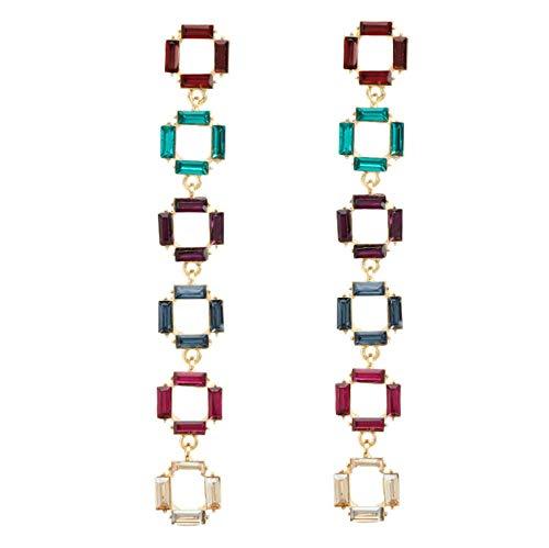 Vvff Pendientes Colgantes De Diamantes De Imitación Cuadrados Multicapa Para Mujer Pendientes De Borla Casuales Lindos Para Niña