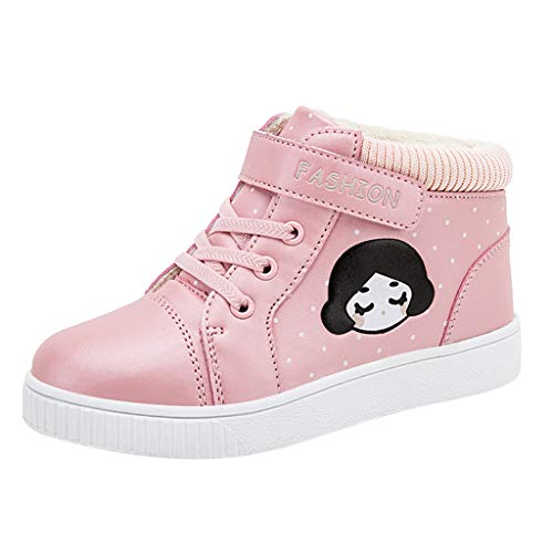 Alwayswin Kinder Mädchen Winter Warme Schuhe Plus Samt Outdoor-Sportschuhe Bequeme Lässige Sneakers Mode rutschfest Lederschuhe Weicher Boden Klettverschluss Booties Kurze Stiefel