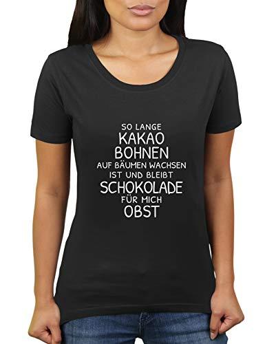 KaterLikoli - Camiseta para mujer con diseño de granos de cacao en árboles y sigue creciendo chocolate Profundo Negro M