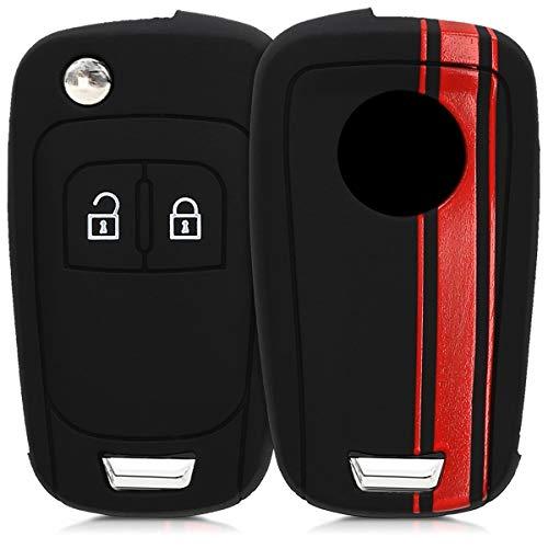 kwmobile Autoschlüssel Hülle kompatibel mit Opel Chevrolet 2-Tasten Klapp Autoschlüssel - Silikon Schutzhülle Schlüsselhülle Cover Rallystreifen Sidelines Rot Schwarz
