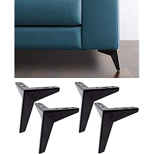 IPEA 4X Piedi per Divani e Mobili Modello Jazz – Set di 4 Piedini in Ferro – Design Moderno ed Elegante Color Negro Mate, Altezza 135 mm