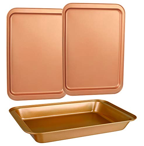 CopperKitchen Original Cookie Sheet & Roasting Tray Set - 3 pcs Toxic Free NONSTICK - Organic Environmental Friendly Premium Coating - Durable Quality - 2 X Baking Sheets 1 X Roasting Pan - BAKEWARE