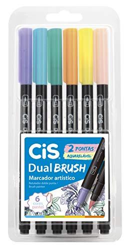 Marcador Artístico Aquarelável 2 Pontas, CiS, Dual Brush, 58.0100, 6 Cores Pastel