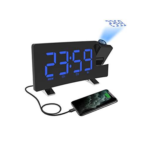 Radio Réveil à Projection, Réveil Projection Plafond 180°, Horloge Numérique FM USB avec Double Alarmes, Snooze, Minuteur de Mise en Veille, 12/24h, Grand écran LED avec Gradateur (Bleu)