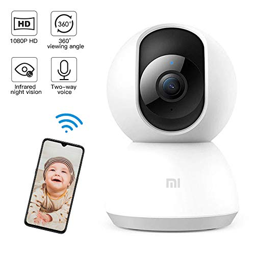 Mi Bady Monitor,1080p HD Home Security IP Camera Wireless WiFi Pet Camera with Sound/Motion Detection, Motion Tracking, Night Vision, 2-Way Audio, PTZ Remote View, Work with Alexa and Google Assistant