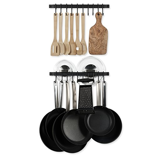 Wallniture Casto 17 Gourmet Kitchen Rail with 20 S Hooks for Hanging Kitchen Utensils Set and Cookware Iron Black Set of 2