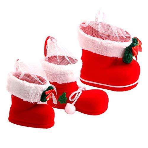 Supvox 3Pcs Mini Medias de Navidad Cesta de Regalos de Navidad Bolsas de Dulces de Navidad Bolsas de Regalo Bolsa de Asas Botas de Navidad Regalo Caja de Bolsa de Vino para Fiestas