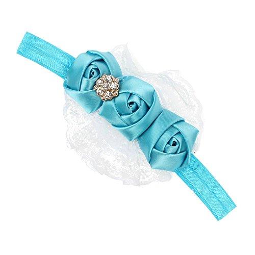 Accessoire Cheveux Ruban Bébé Rose Dentelle Fleur Bandeaux Fille Enfants Blue