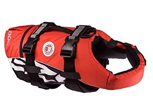 EzyDog DFD Schwimmweste Hund - Hundeschwimmweste - Schwimmwesten für Hunde - Größenverstellbar mit Griff und Reflektoren (S, Rot)