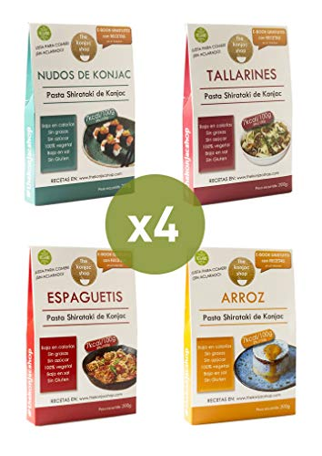 The Konjac Shop - Pack Variado de Pasta Shirataki, 4 unidades