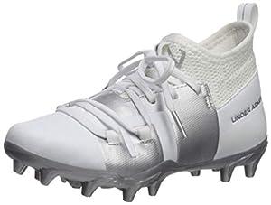 Under Armour Boys' C1N MC Jr. Football Shoe, White (102)/Metallic Silver, 6 M US Big Kid