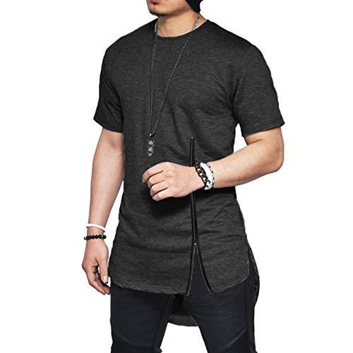 SSBZYES Camisetas para Hombres Camisetas De Algodón De Manga Corta para Hombres Cremallera En El Pecho para Hombres Hip-Hop Ranuras Laterales De Manga Corta Camisetas con Dobladillo En Arco Camisetas