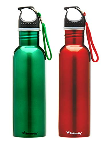 Butterfly Stainless Steel Water Bottle Set, 750ml, Set of 2, Red/Green