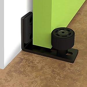 Guía de piso ajustable para pared/puerta inferior guía deslizante puerta de granero hardware negro