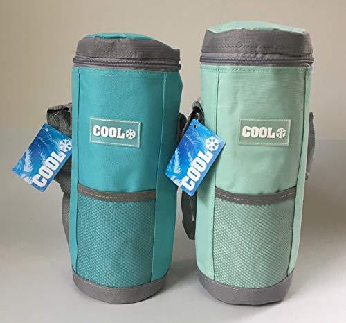 2 x Kühltasche für Flaschen, Flaschenkühltasche bis1,5 l in den Farben türkis und mint, 12 x 34 cm Kühlbox Kühlbeutel mit verstellbarem Trageriemen Weinkühler Sektflasche