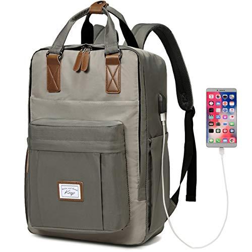 School Backpack for Men, Kasgo Water Resistant 15.6 inch Laptop Rucksack with USB Charging Port Bookbag Casual Daypack for Women Teenagers College Travel Work (Grey)