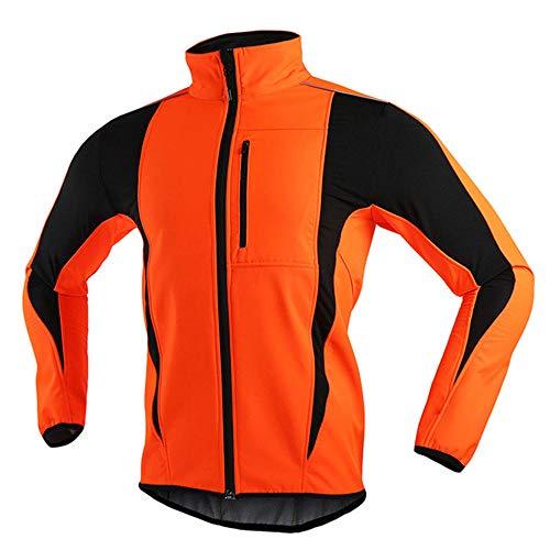 Reflektierende Fahrradjacke für Herren Damen, Softshell Leichte Wasserdichte Laufjacke, Winter Thermo Fleece Atmungsaktiv Winddichte Fahrradbekleidung, für Outdoor, Radfahren und Laufen-Orange XXL