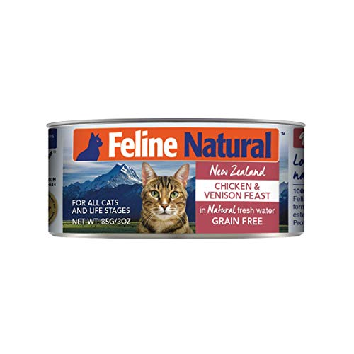Feline Natural BPA-Free & Gelatin-Free Canned Cat Food, Chicken & Venison 3oz 24 Pack
