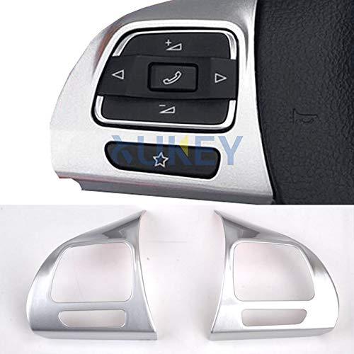 Pegatina cromada para volante para Golf 6 Passat CC Jetta Eos Tiguan Touran, embellecedor de coche, decoración interior