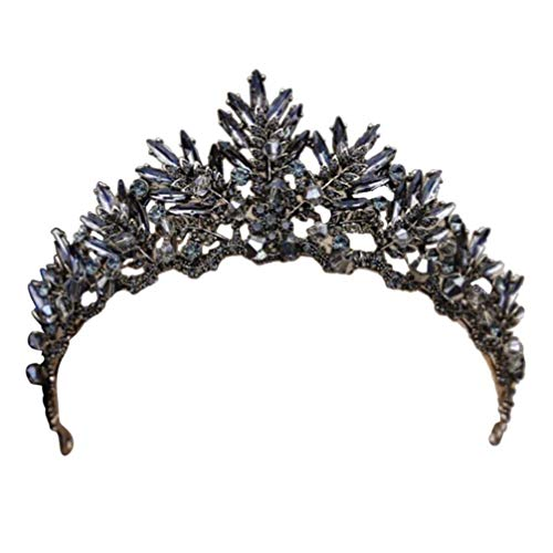 FRCOLOR Princesse Diadème Couronne Cheveux Cerceau Coiffure de Mariée Couronne Vintage Couronne Strass Cristal Bandeau Chapeaux Diadème pour Le Parti Cosplay Mariage (Noir)
