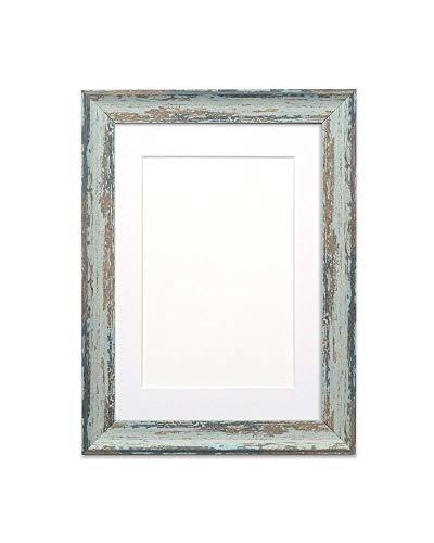 Fotolijst, met passe-partout, houtlook, onbreekbaar, plexiglas, 32 mm breed en 18 mm diep, lepel, blauwe lijst met witte passe-partout, 25,4 x 20,3 cm