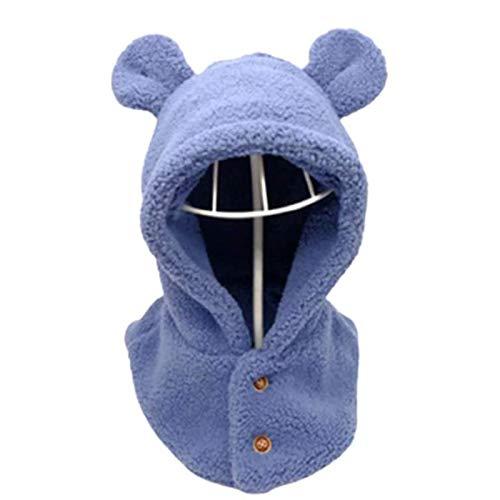 OMKMNOE Bufandas De Invierno para Nios, Bufanda Verstil con Escape De Oreja Caliente para Nios Pequeos Sombreros De Bufanda Orejas Baby Boy Dome Hat para Nios Bufanda Regalos,Azul