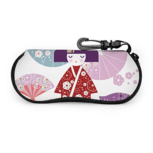 Hdaw Estuche blando para gafas de sol,Girl Japanese Woman Kimono Parasol Estuche para gafas de neopreno ligero con cremallera y clip para cinturón