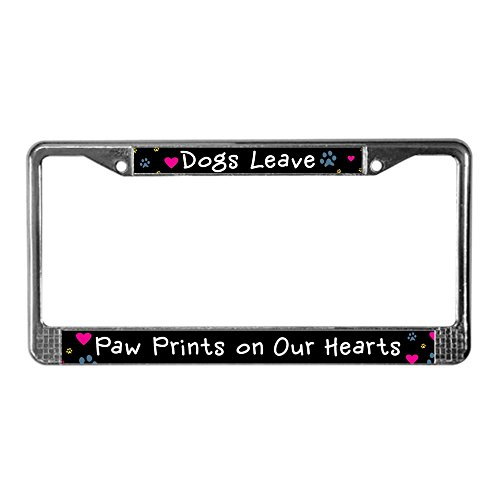 CafePress Dogs Leave Paw Prints License Plate Frame Chrome License Plate Frame, License Tag Holder