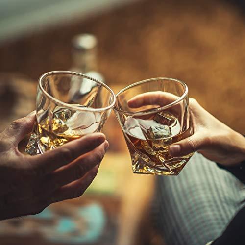 Amerigo Premium Whisky Gläser 4-teiliges Set Geschenkbox - Twist Whisky Gläser für Scotch, Bourbon & altmodische Cocktails (340ml) - Whisky-Geschenk für Männer - Vatertagsgeschenk - Bar-Set - 8