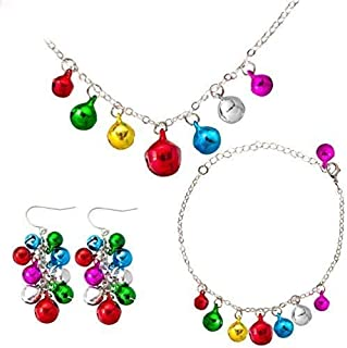 Geefuun 8 Pieces Christmas Costumes Gift Jingle Bell Necklace Earrings Bracelet Party Favors Decorations Gifts Accessories