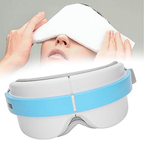 Ruiqas Masajeador de Ojos Eléctrico Inteligente Máquina de Masaje de Ojos con Terapia de Vibración de Compresas Calientes (Azul)