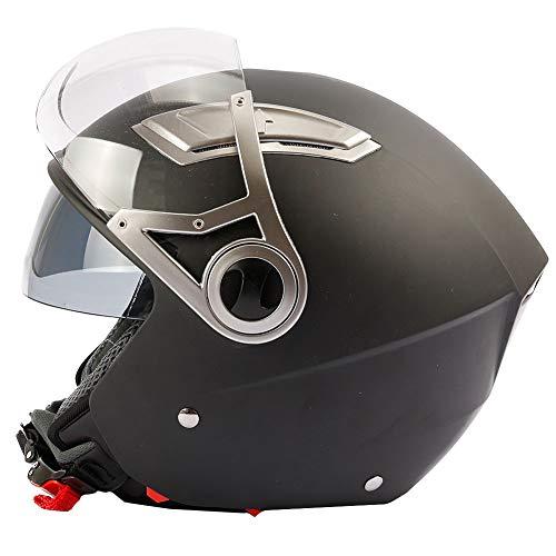 Mach1 Jethelm Jet Helm Motorradhel mit Integrierter Sonnenblende und Kurzem Visier ECE R 22.05 Größe XS bis XXL