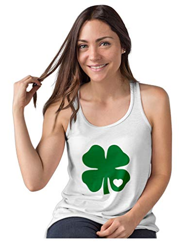 Camiseta regata feminina Dia de São Patrício trevo irlandês coração trevo verde, Branco, XL