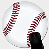 Matcase for Circle Cute Mouse Pad - Baseball with Non-Slip Rubber Stitched Edge, Waterproof Office Mouse Pad