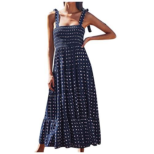 FNJJLU Summer Dresses for Women, Square Neck Sleeveless Long Dress Ruffle High Waist Maxi Dress Flowy Casual Dress