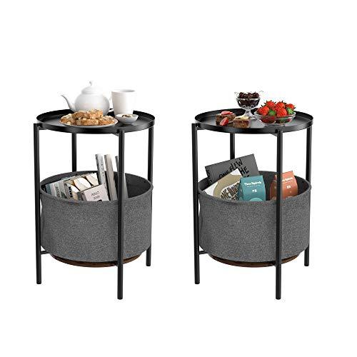 Homfa Couchtisch 2er Set Beistelltisch Rund Wohnzimmertisch mit Ablage Sofatisch Kaffeetisch Nachttisch Holz Metall Industrie Design Vintage Schwarz 42,3x42,3x60,2cm