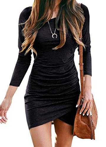 BTFBM Women Fashion Ruched Elegant Bodycon Long Sleeve Wrap Front Solid Color Casual Basic Fitted Short Dress (Black, Small)