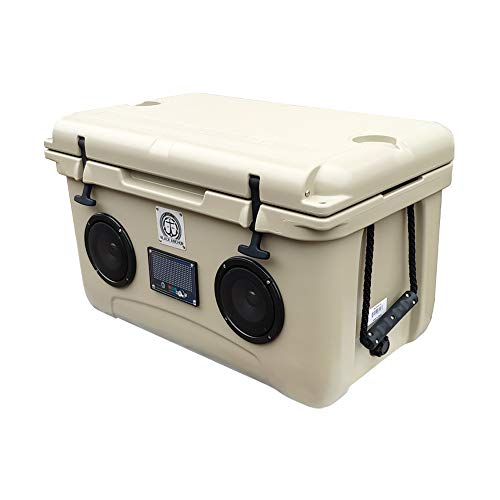 Black Anchor Rotomolded 45L Speaker Cooler IP44 Water Resistant for Parties Festivals Boat and Beach. Bluetooth 5.0 Compatible with iPhone & Android (45L, Tan)