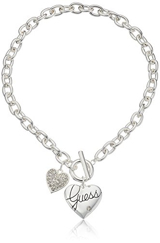 GUESS 'Basic' Silver Logo Heart and Pave Heart Toggle Pendant Necklace