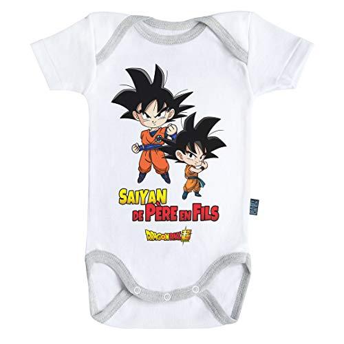 Baby Geek Saiyan de père en Fils - Goku et Goten - Dragon Ball Super ™ - Licence Officielle - Body Bébé Manches Courtes (3-6 Mois)