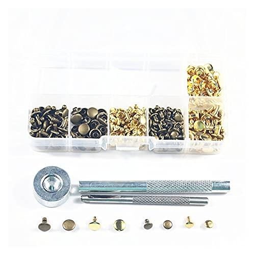 Duradero 120sets 6mm / 8mm de latón de cuero de latón remaches de doble gorra de metal Studs Tornillo Craft Jeans Bolsos Remaches de vestir decorativas con herramientas de fijación para la decoración