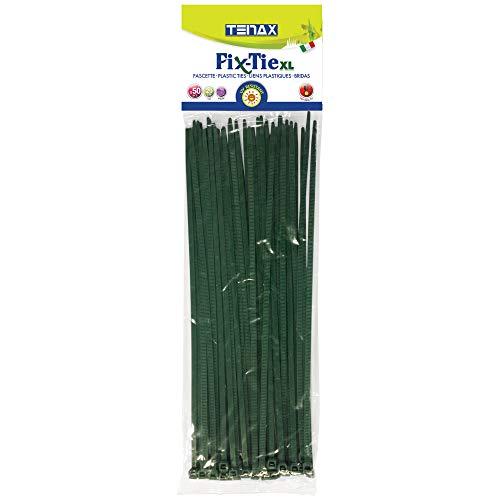 tenax Plastica, Fix-Tie XL, Lunghezza 29 cm, Confezione da 50 Pezzi, Fascette di Fissaggio, Verde