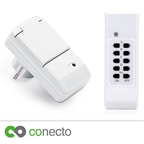 conecto Funksteckdosen Komplett Set Starterkit für Außenbereich IP44 (4-Kanal, Selbstlern-Funktion, 1x Outdoor Funksteckdose, 1x Fernbedienung) weiß